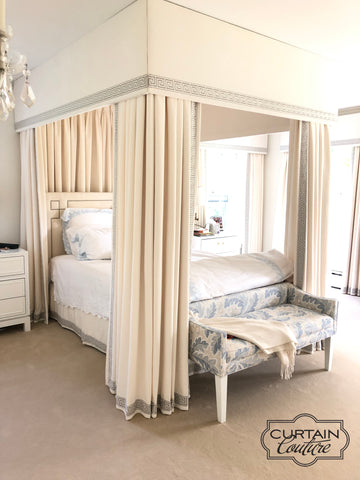 Total luxurious master bedroom! Bedroom canopy, drapery panels, bed skirt, and cornices decorated with Greek key trim. Designed by Client & fabricated by Curtain Couture.