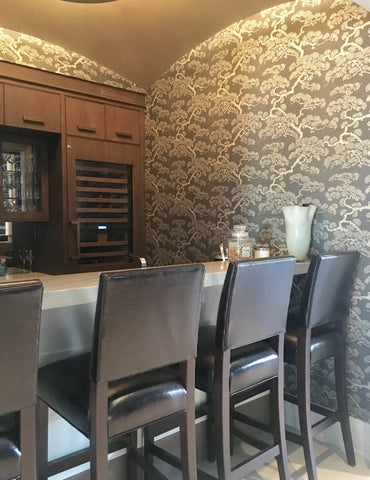 Contemporary Pine Cypress Wallpaper Complements the Dark Chocolate Furniture