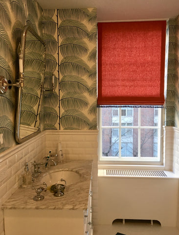 Flat Front Roman Shade for Kid's Bathroom by M&M Interiors & Curtain Couture