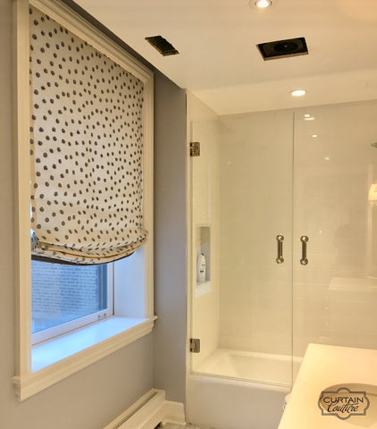 Relaxed Shade for the bathroom by Andrea Majors Interiors & Curtain Couture