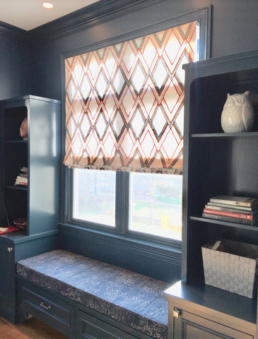 Fun Geometric Roman shade by Lux Design Group & Curtain Couture