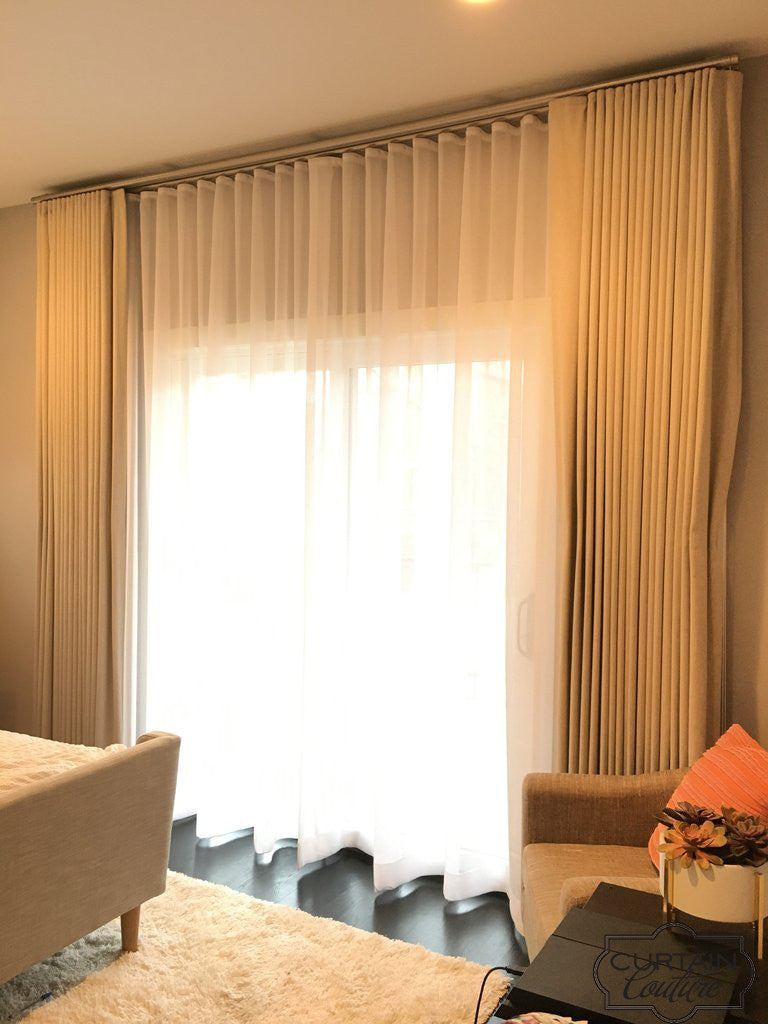 Functional Sheer + Functional blackout Panels for Bedroom