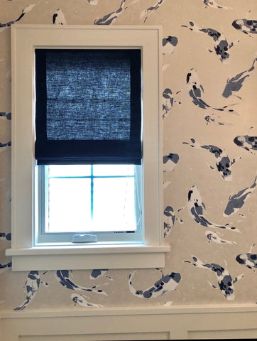 Simple Yet Elegant Design - Moderate Light Filtering Roman Shade Complements Indigo Koi Fish Wallpaper from Harlequin.  Design by Jeanne Hendrie Interiors & Fabricated by Curtain Couture.