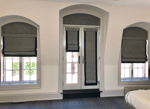 Arched Top Cornices designed by Curtain Curtain to coordinate with existing flat roman shades