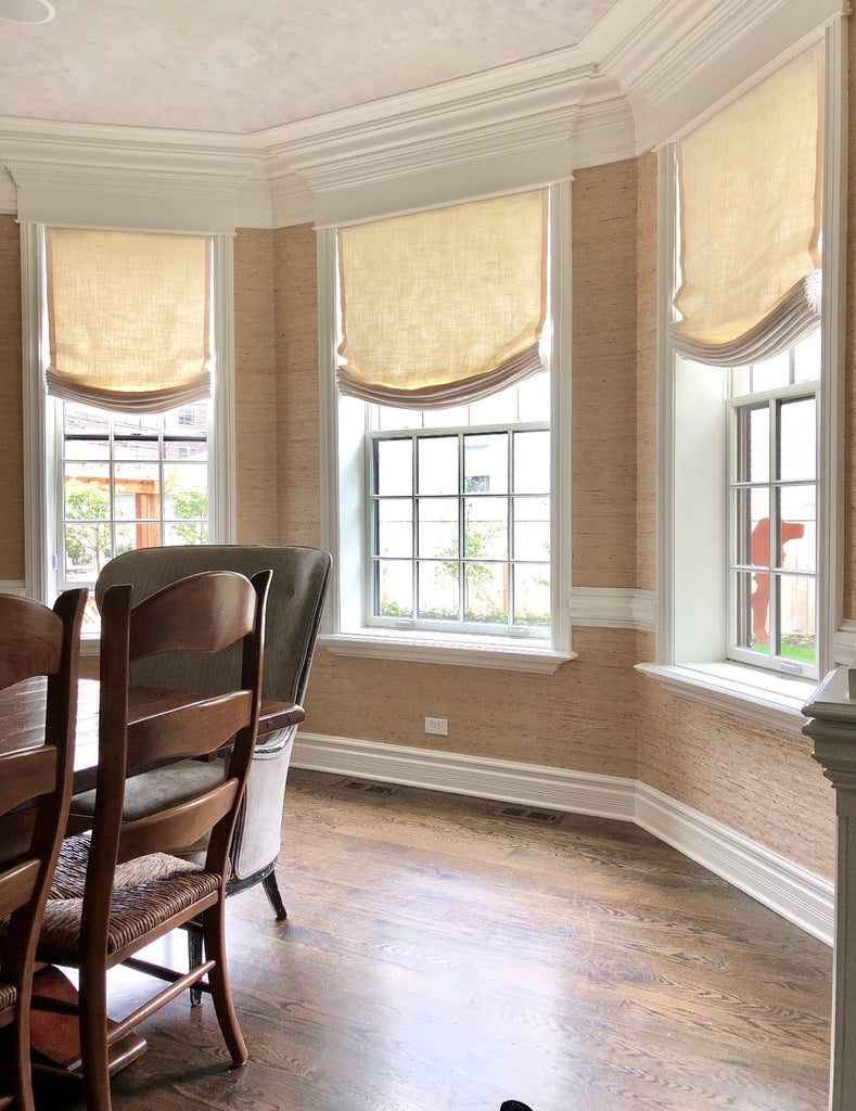 3 Relaxed Roman Shades in Bay Windows by Curtain Couture