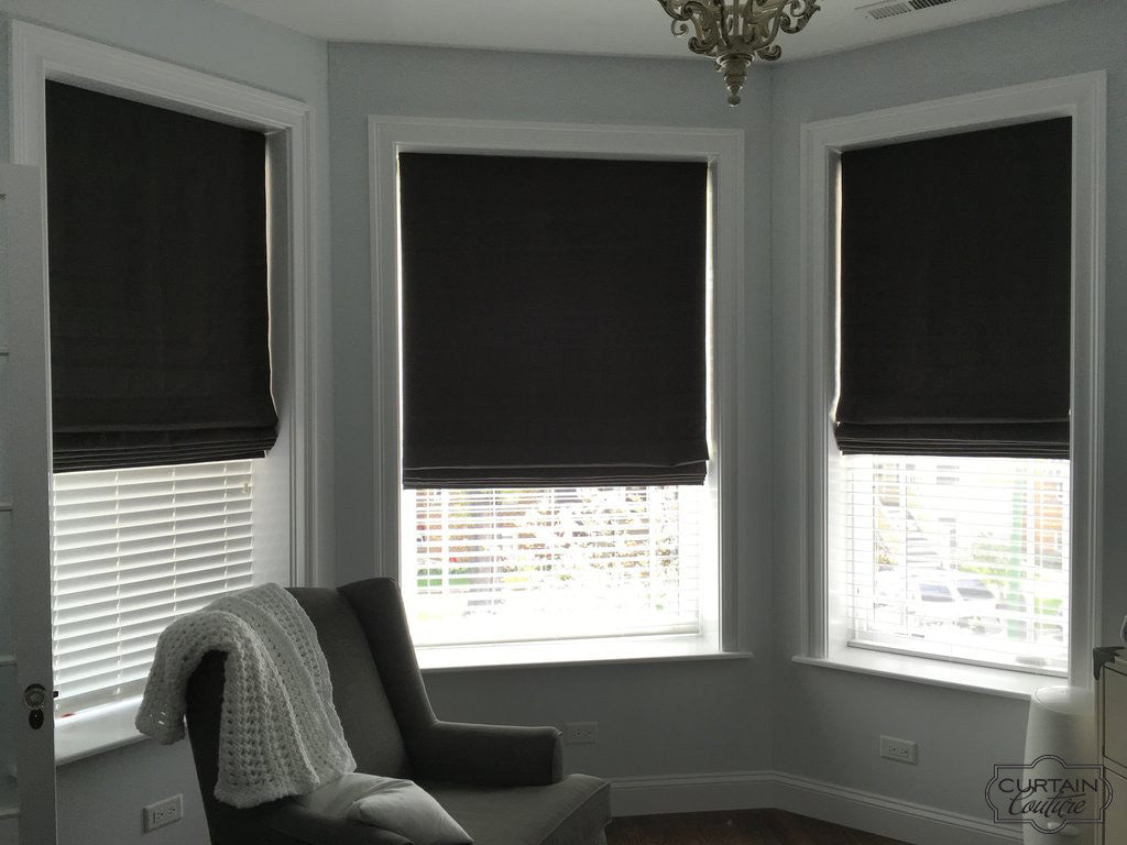 Blackout Fabric Roman Shades For Bay Windows Curtain Couture