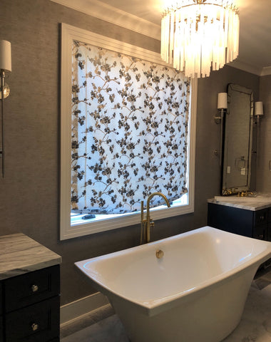 Couture Relaxed Roman Shade Featured Gray Hue Cherry Blossoms by Dark Horse Interior Design & Curtain Couture