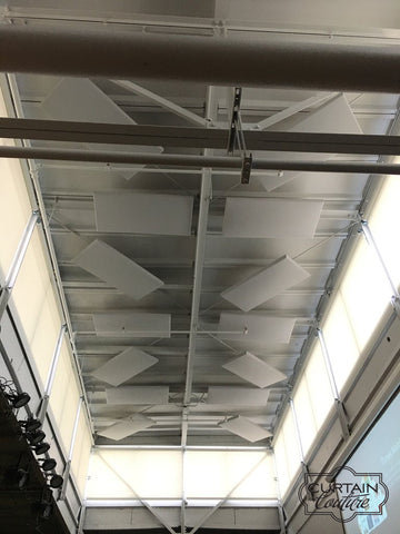 Daystar School Auditorium / Motorized Roller Shades by Curtain Couture / 2512