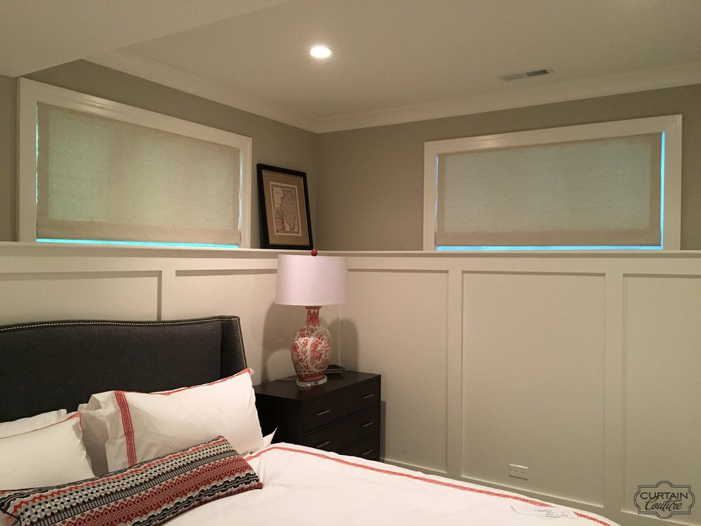 Functional Shades for Lower level Bedroom by Curtain Couture