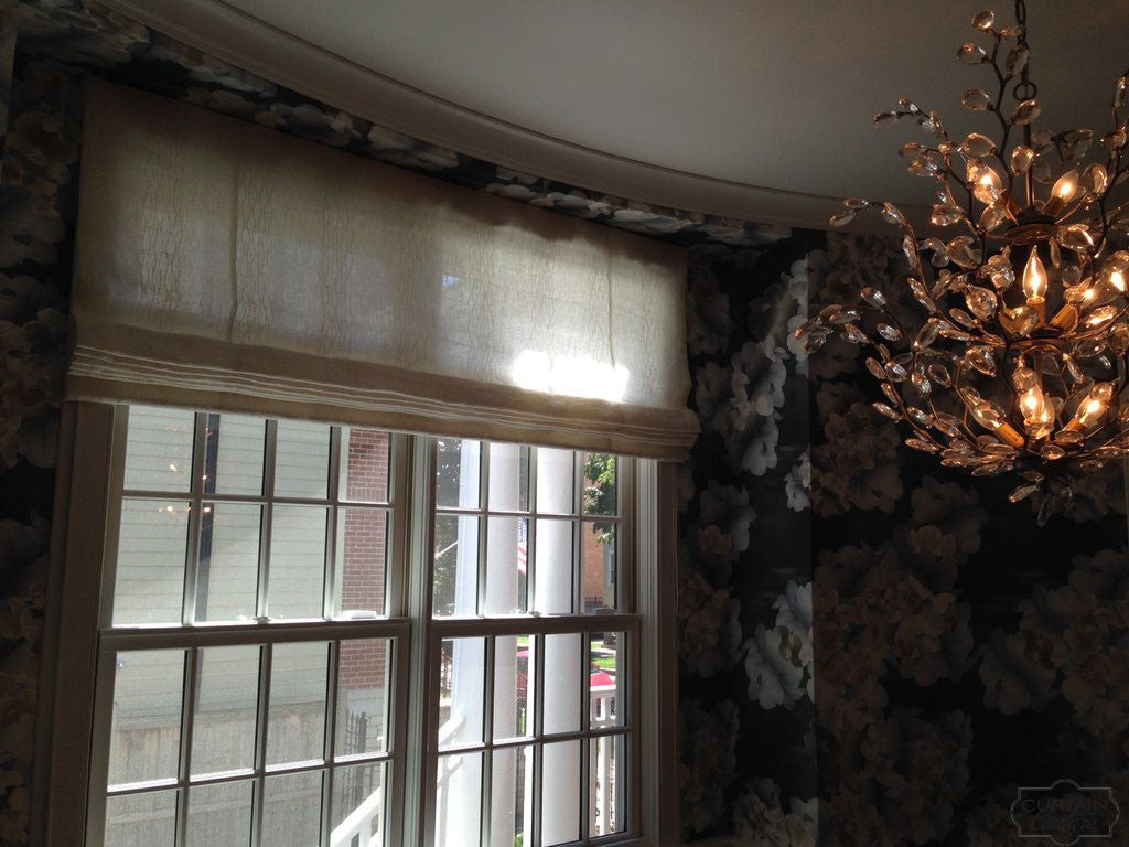Custom Light Filtering Flat Roman Shade by Norah Meadows Design & Curtain Couture