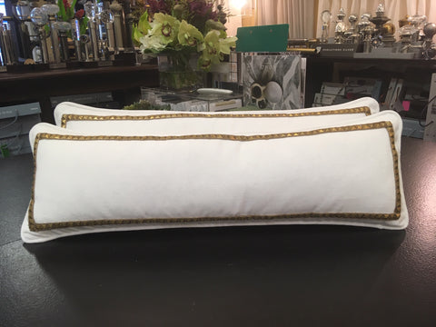 Couture Lumbar Pillows - White Velvet from Pindler Embellished with Orion Studded Gold Border. Designed by Leo Designs & Fabricated by Curtain Couture.