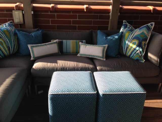 Outdoor pillows , cushions and ottomans