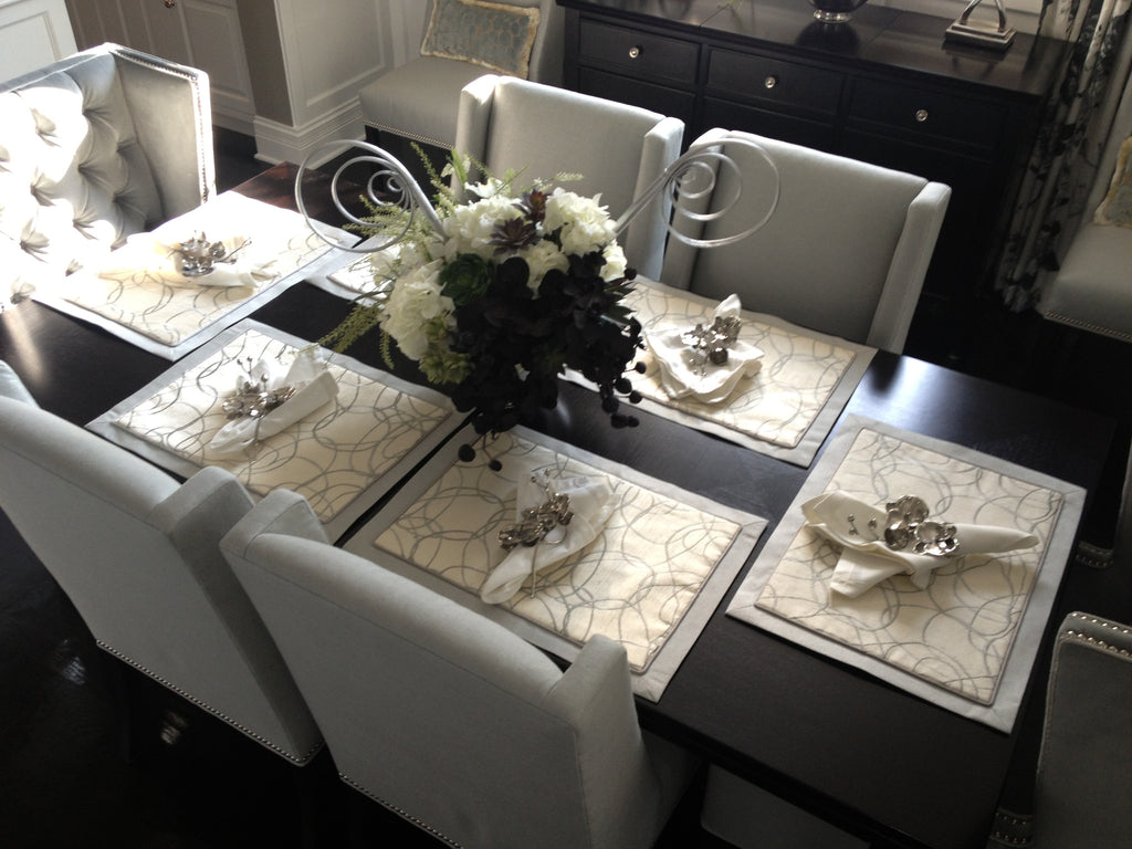 Placemats + Upholster chairs - Curtain Couture & Coutume designs