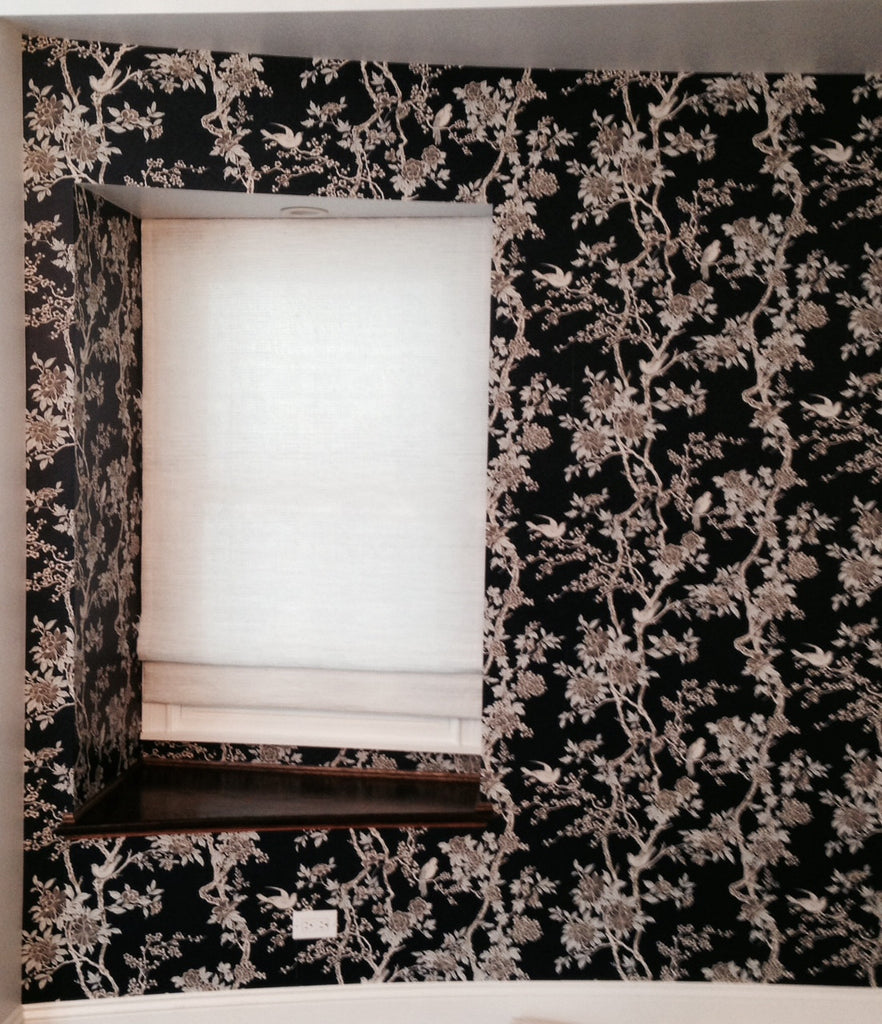 Elegant Marlowe Floral Wallpaper by Ralph Lauren. Wallpaper Installation by Curtain Couture.