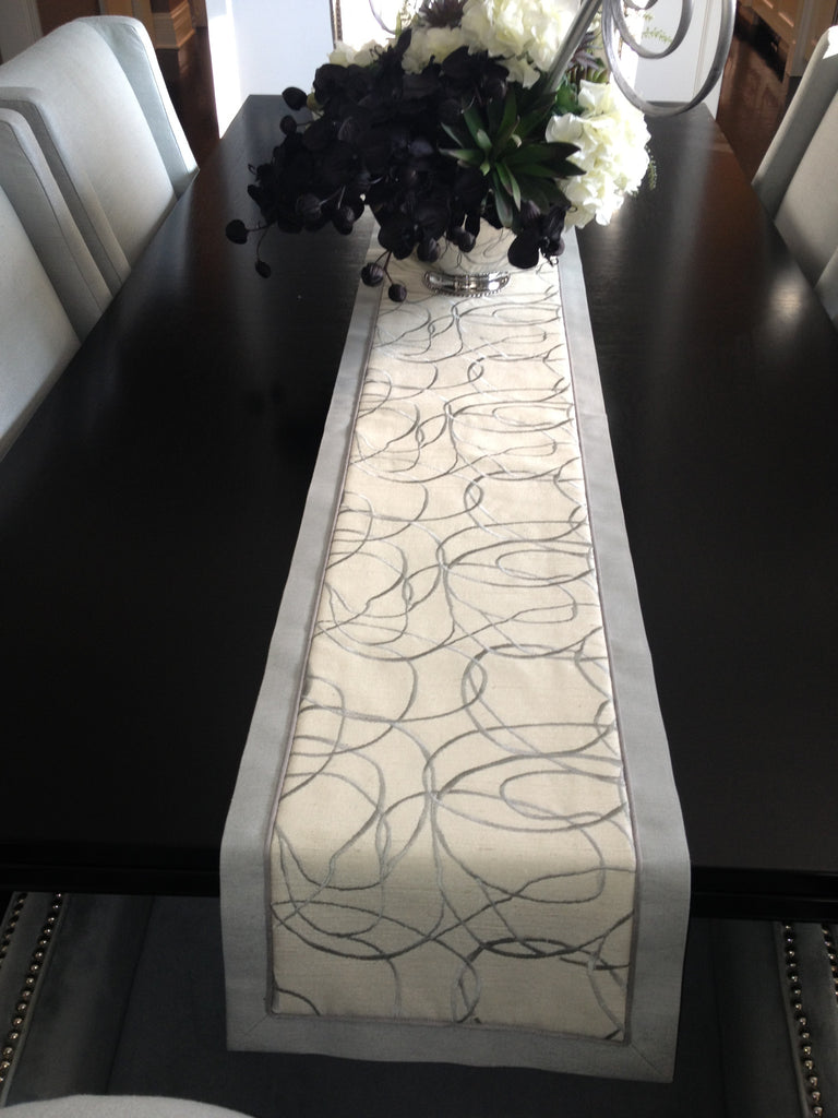 Upholster Chairs + Table runner - Curtain Couture & Coutume designs