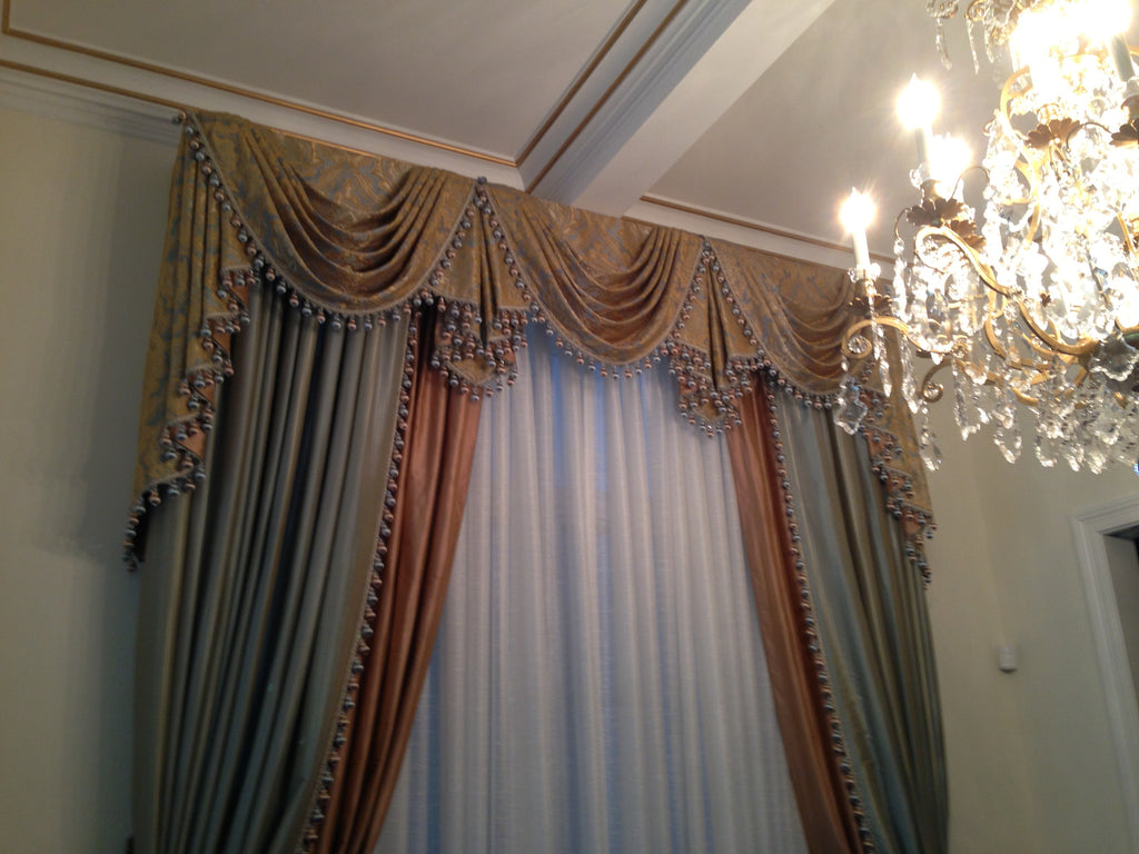 Traditional Drapery with Swags - Curtain Couture