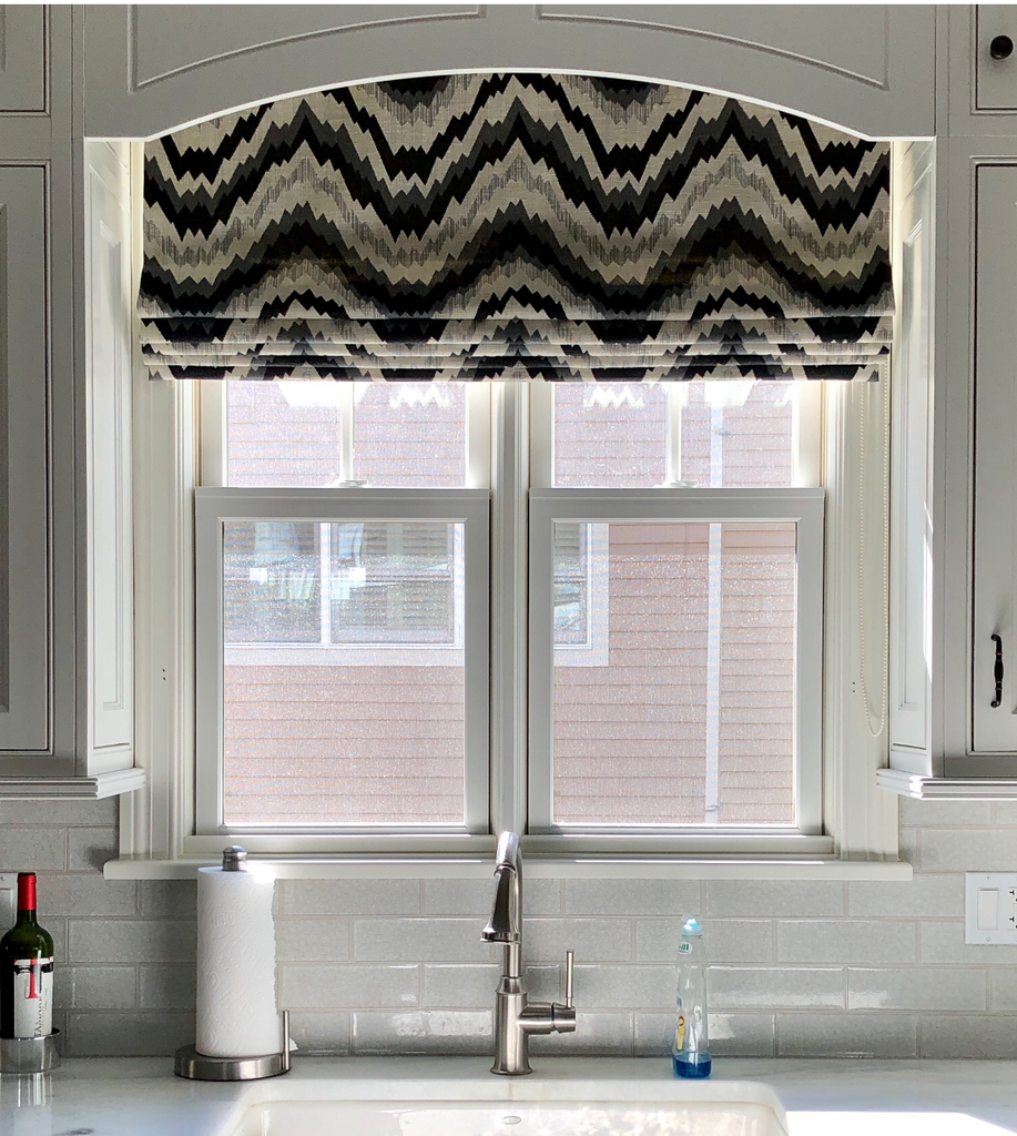 The Abstract Flat Roman Shade Creates Optical Illusions, Over the Sink
