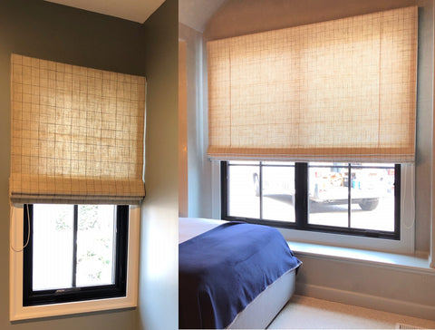 Custom Flat Textured Roman Shade for Matching Bathroom & Bedroom - Filters Light Yet Provides Privacy by Studio Gild Design & Curtain Couture
