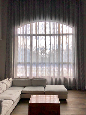 Tranquil and Light Infused Sheer Trellis Drapery Panels by Curtain Couture