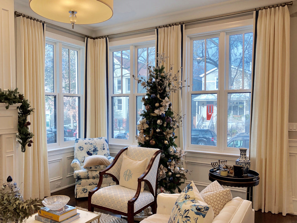 Home for the Holidays! - Elegant Drapery Panels Accented with French Pleat and Solid Tape Trims by Curtain Couture