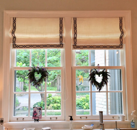 Over the Sink Contemporary Flat Roman Shades Accented with 3 Sided Decorative Tape Trims by M+M Interior Design & Curtain Couture