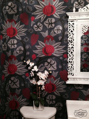 Magical Maharani Design of Pomegranates and Grapevines Wallpaper from Osborne & Little. Wallpaper Installation by Curtain Couture.