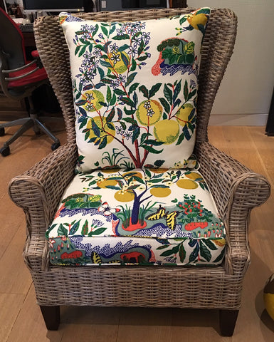 Reupholstered Wingback Wicker Chair Featuring Schumacher's Whimsical and Vibrant Citrus Garden by M+M Design & Curtain Couture