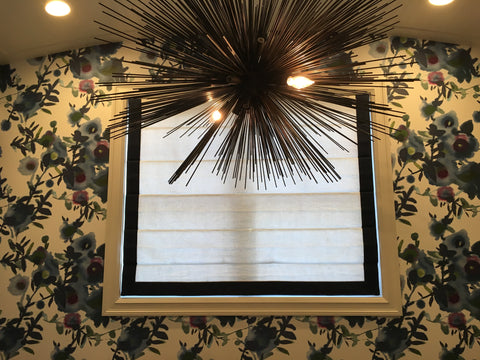 Sophisticated Three Sides Tape Trim Roman Shade by Kelly Stevenson Interiors & Curtain Couture