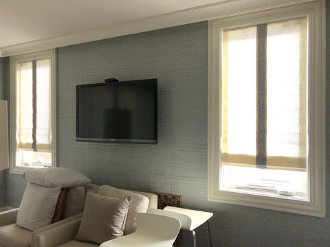 Light Filtering Roman Shades Accent with Greek Key Trim at Center  by M&M Designs & Curtain Couture
