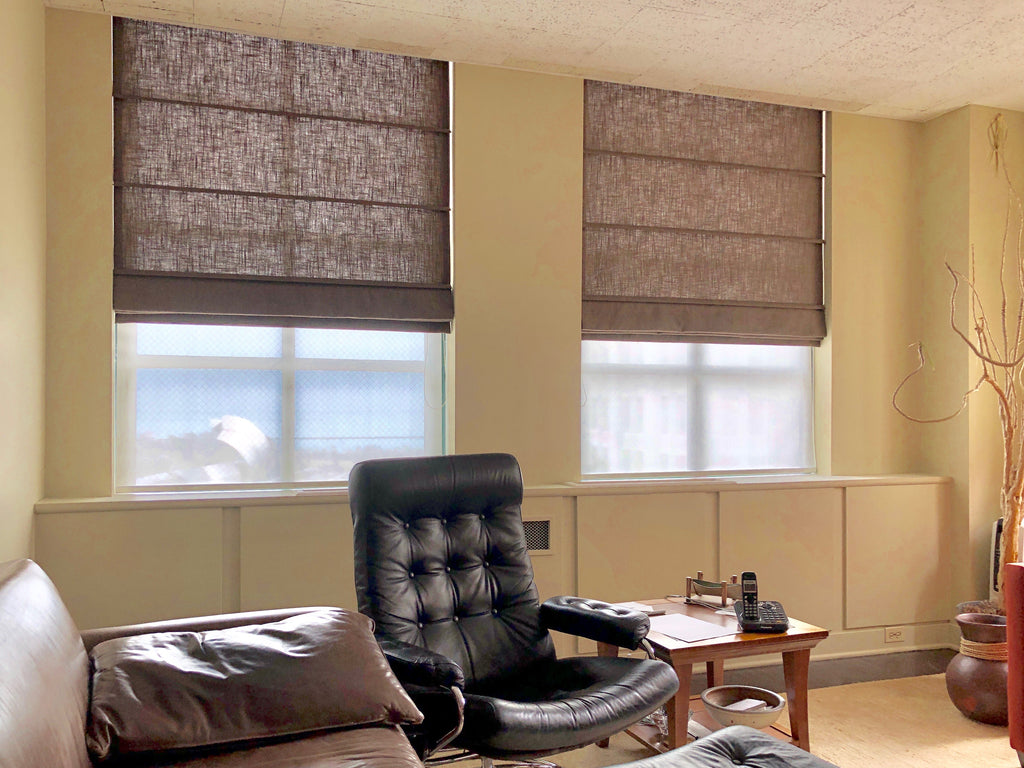 Unlined Sheer Ribbed Pleat Roman Shades in Downtown Office by Ayers Designs & Curtain Couture