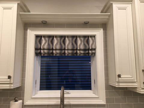 Over the Sink Hobbled Roman Shade with Symmetrical Wave Pattern by Curtain Couture