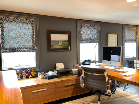 Abstract Pattern Roman Shades Accentuating the Office by M&M Designs & Curtain Couture