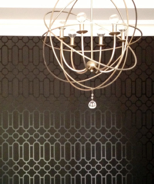 Contemporary Geometric Wallpaper from Designers Guild. Wallpaper Installation by Curtain Couture.