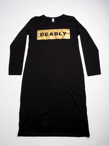 LONG SLEEVE SOLID GOLD DEADLY DRESS