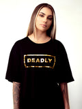 SHORT SLEEVE GOLD DEADLY DRESS