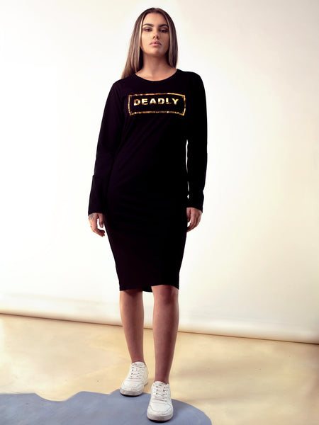LONG SLEEVE GOLD DEADLY DRESS
