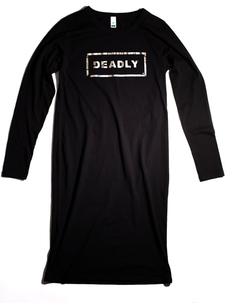 LONG SLEEVE SILVER DEADLY DRESS