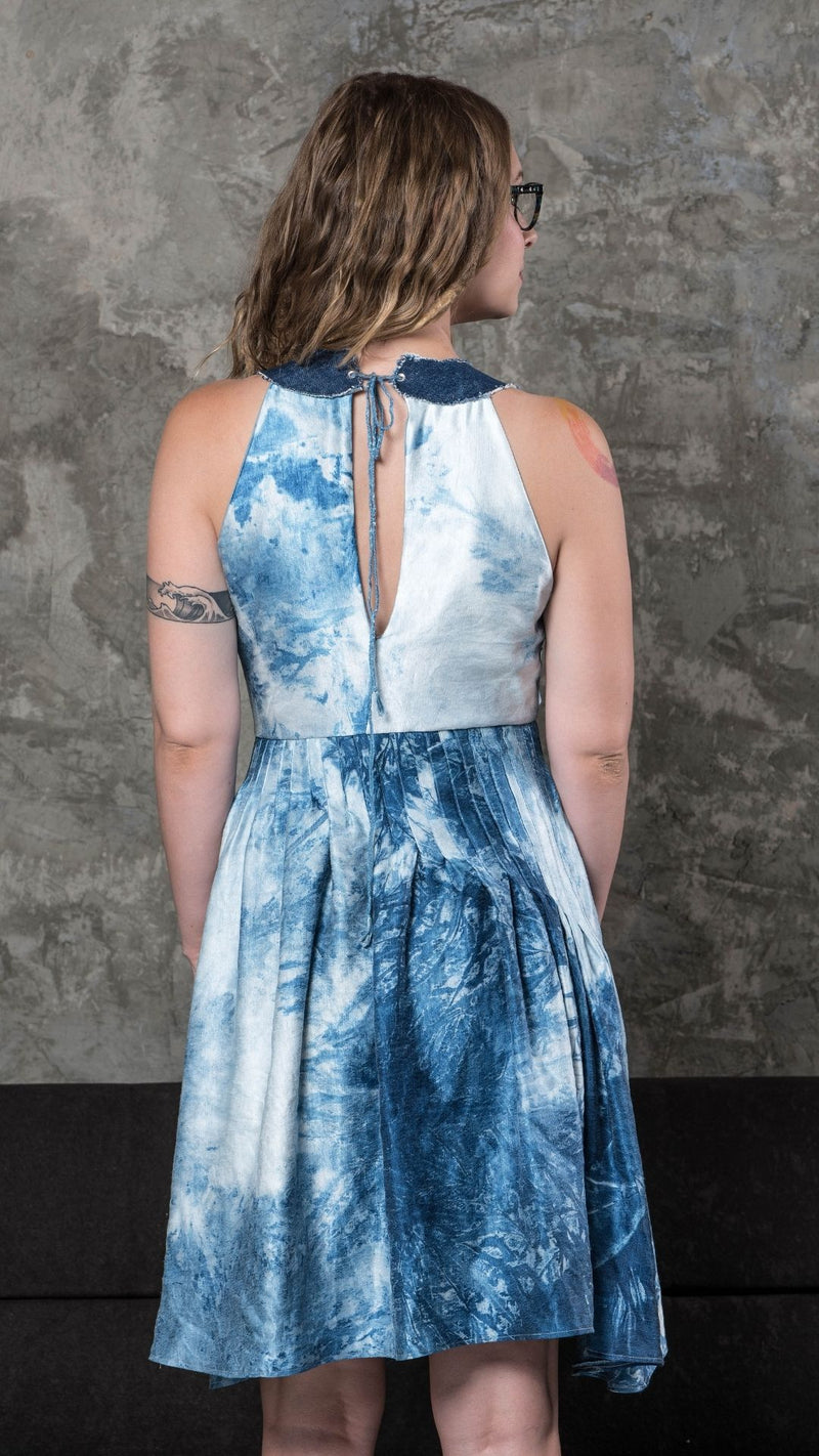 Denim and Silk Dress