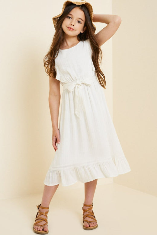 Belted Ruffle Sleeve Maxi Dress
