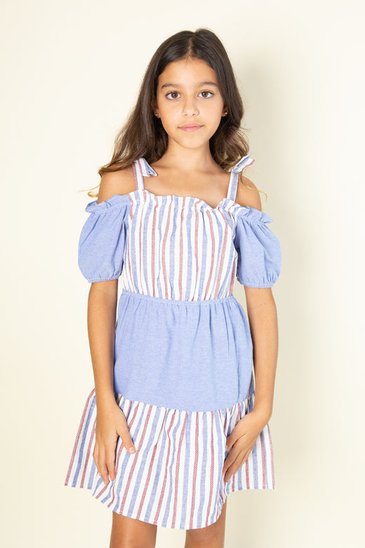 Stripe Off-Shoulder Dress