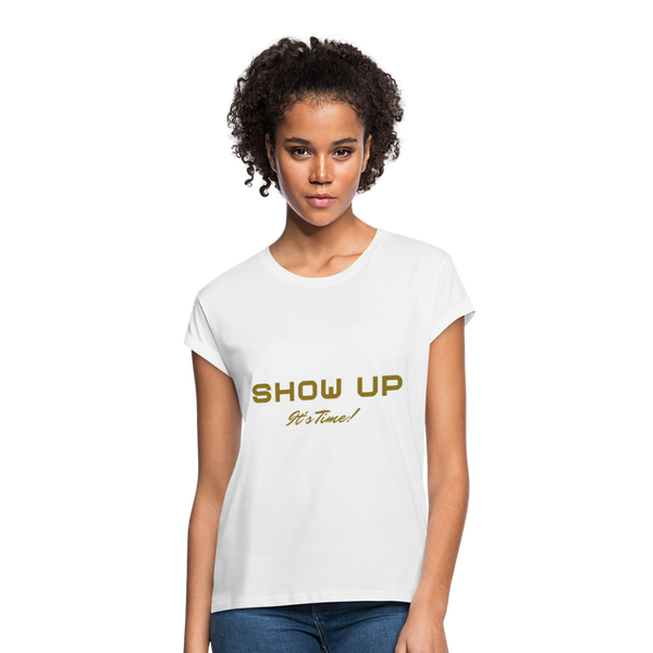 SHOW UP Gold Glitz Women's Relaxed Fit T-Shirt - white