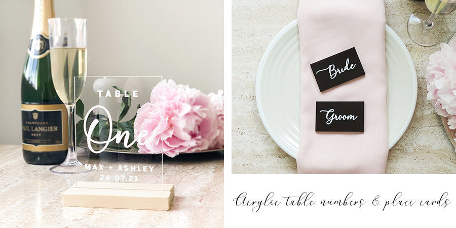 Acrylic wedding table numbers and place cards