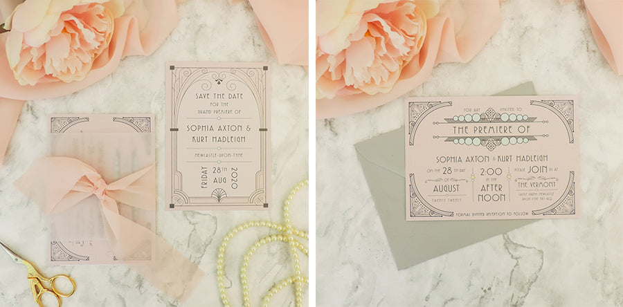 Luxury art deco wedding invitations pink