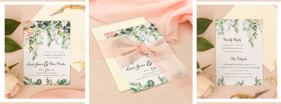 Luxury wedding invitations with watercolour eucalyptus design and pink chiffon ribbon tie