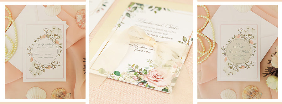 Luxury wedding invitations white with flowers and chiffon tie