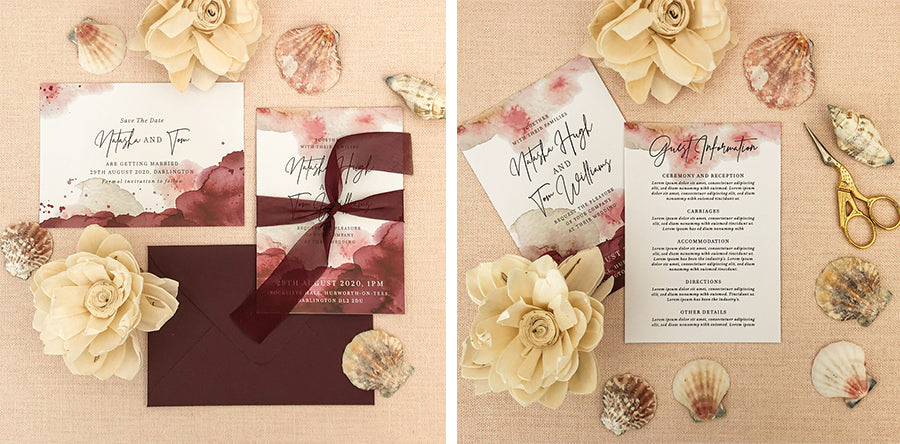 Luxury wedding invitations with maroon watercolours