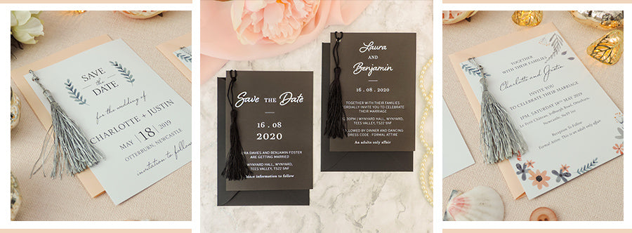 Luxury wedding invitations with tassels