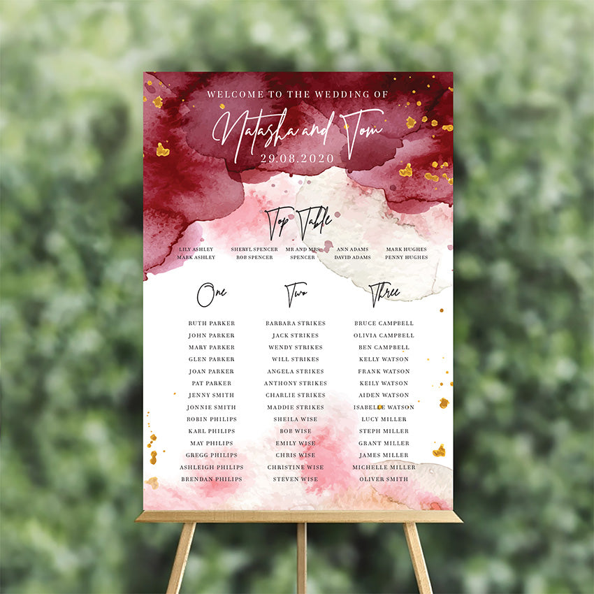 Maroon Watercolour table plan for wedding
