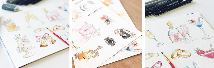 Illustrated wedding order of the day cards