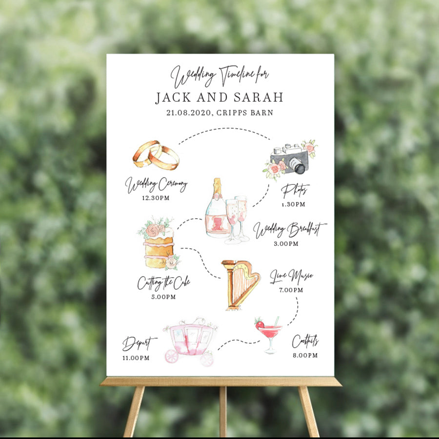 Hand illustrated order of the day sign for weddings